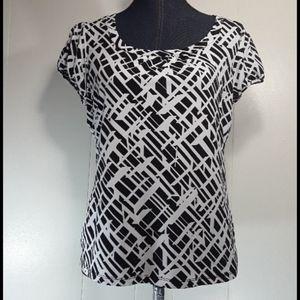 Worthington short sleeve abstract blouse